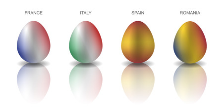 Set of 4 Easter eggs painted in the colors or European countries flags: France, Italy, Spain and Romania. Semi realistic vector illustration, isolated on white background
