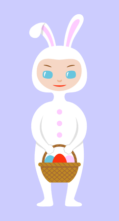 Image of a kid in Easter bunny costume, holding basket with dyed eggs in their hands. Chibi style character design. Vector illustration, isolated on blue background