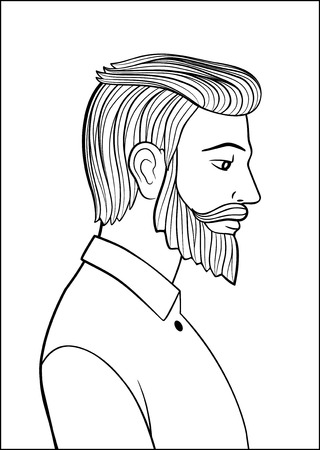 Portrait of a bearded man. Hand drawn black and white vector illustration
