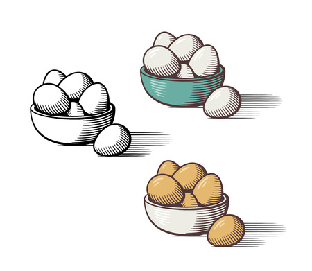 Stylized hand drawn illustration of eggs in a bowl. Outline and colored version. Isolated vector image Çizim