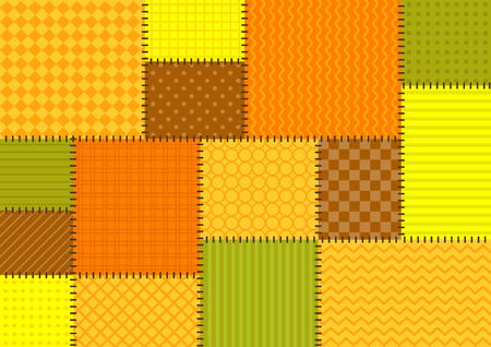 Vector patchwork background with orange, brown and yellow tiles