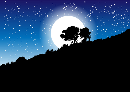 Vector illustration of night scenery. Black trees on the slope against starry night sky and full moon Çizim