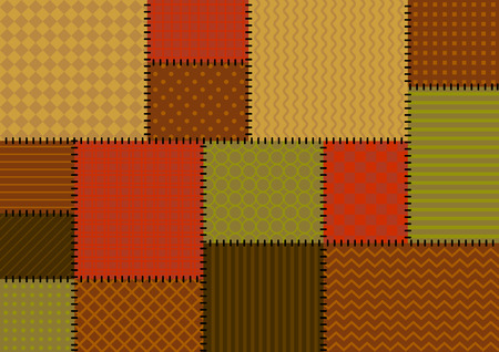 Vector patchwork background with brown, red and beige tiles with geometric ornament Çizim