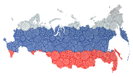 Flag and map of Russian Federation with flowers. Conceptual vector image, isolated on white