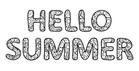 Bonjour lettrage d'été. Décrire les personnages avec une texture florale. Illustration vectorielle noir et blanc, isolée sur fond blanc Vecteurs