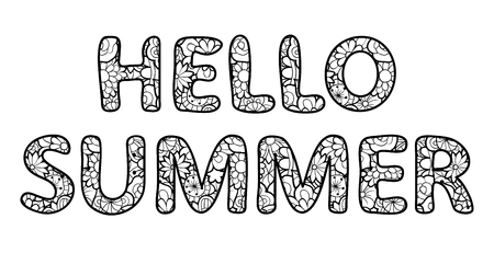 Hello summer lettering. Outline characters with floral texture. Black and white vector illustration, isolated on white background