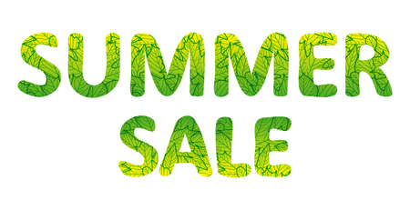 Summer sale lettering. Green text with foliage texture. Vector illustration, isolated on white background Çizim