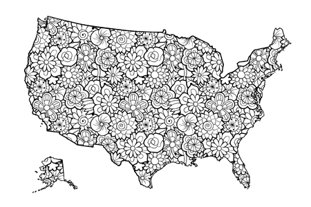 Map of United States of America with flowers. Black and white vector illustration, coloring page for adults Çizim