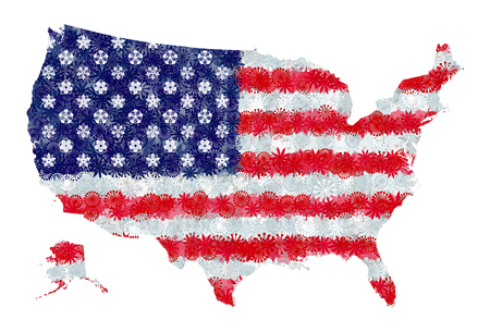 Flag and map of United States of America with flowers Çizim