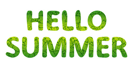 Hello summer lettering. Green letters with foliage texture. Vector illustration, isolated on white background