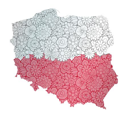 Flagge und Karte von Polen mit Blumenmuster. Konzeptionelle Vektor-Illustration, isoliert auf weiss Vektorgrafik