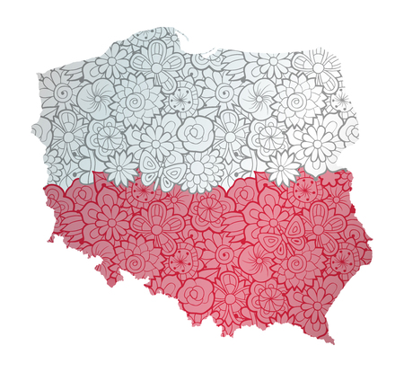 Flag and map of Poland with floral pattern. Conceptual vector illustration, isolated on white