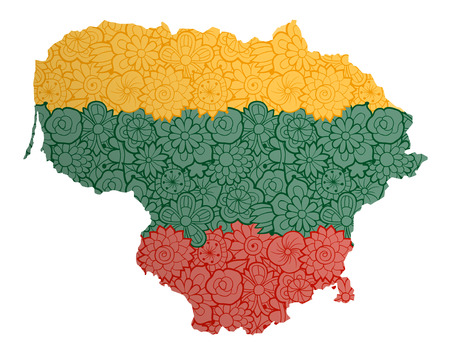 Flag and map of Lithuania with flowers. Conceptual vector image, isolated on white