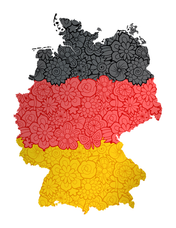 Flag and map of Germany with flowers. Conceptual vector image, isolated on white