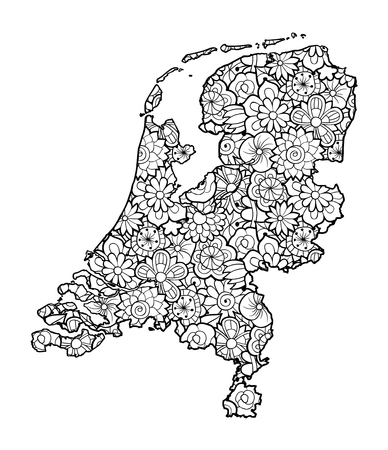 Map of Netherland with flowers. Black and white vector illustration, coloring page for adults