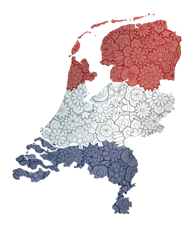 Flag and map of Netherlands with flowers. Conceptual vector image, isolated on white