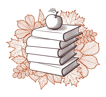 Pile of books and apple on autumn leaves background. Educational concept, stylized vector illustration