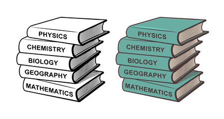 Pile of textbooks. Physics, chemistry, biology, geography and mathematics. Stylized vector illustration, outline and colored