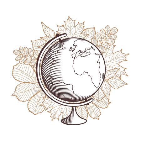Globe on autumn leaves background. Stylized outline vector illustration
