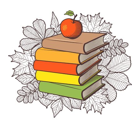 Stack of books and red apple on autumn leaves background. Conceptual vector illustration, isolated on white Çizim