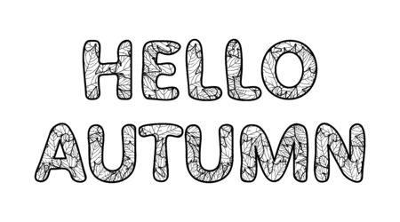 Hello autumn lettering. Outline characters with foliage texture. Black and white vector illustration, isolated on white background Çizim