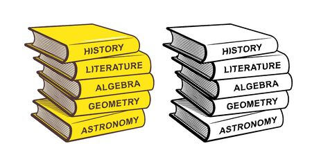 Stack of textbooks. History, literature, algebra, geometry and astronomy. Stylized vector illustration, outline and colored version