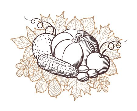 Composition of stylized fruits and vegetables on autumn leaves background. Harvest concept. Monochrome vector illustration, isolated on white