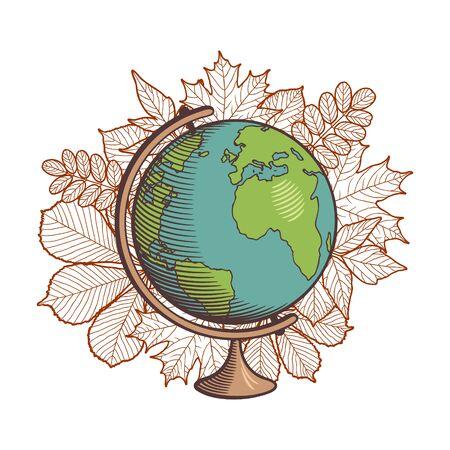 Globe on autumn leaves background. Retro style vector illustration. Isolated on white Ilustracja