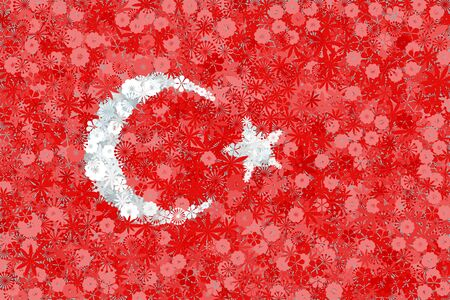 Flag of Turkey with flowers. Conceptual vector background