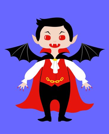 Kid wearing costume of vampire for Halloween. Vector flat illustration in chibi style. Isolated on blue background
