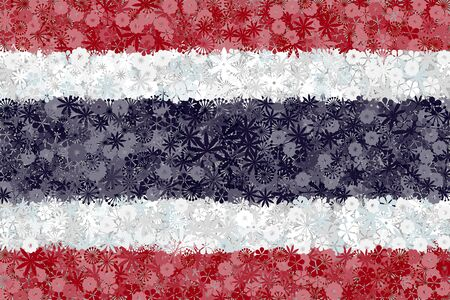 Flag of Thailand with flowers. Conceptual vector background Ilustracja