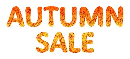 Autumn sale lettering. Orange text with contour of leaves isolated on white background. Vector illustration