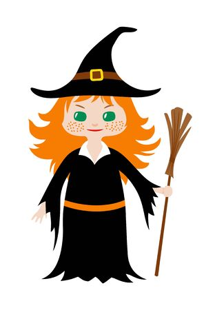Little girl with red hair and green eyes holding broom in her hand dressed in witch costume for Halloween. Vector flat illustration in chibi style