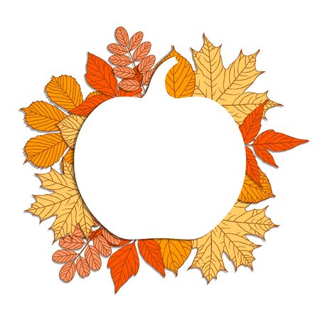 Vector frame in the shape of pumpkin with autumn leaves. Design template with place for your text Illustration