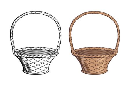 Empty wicker basket, retro-style hand drawn vector illustration. Outline and colored version Ilustracja