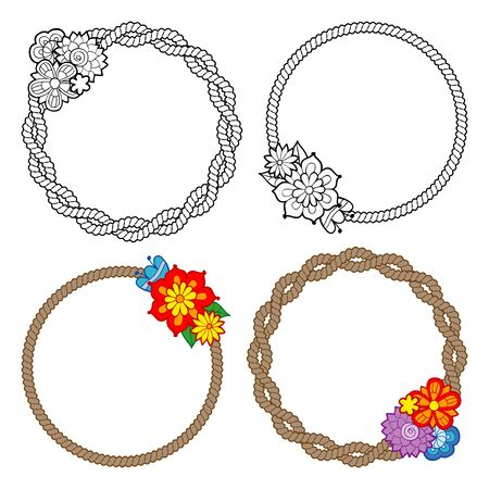 Set of 4 vector frames with ropes and flowers. Monochrome and colored versions