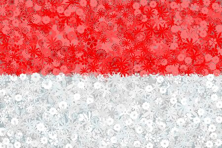 Flag of Indonesia with flowers. Conceptual vector illustration
