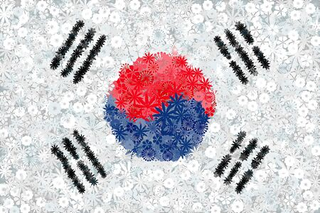Flag of South Korea with flowers. Conceptual vector illustration Ilustracja