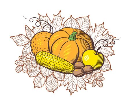 Composition of stylized fruits and vegetables on autumn leaves background. Pumpkin, apple, orange, corn and nuts. Harvest concept. Colored vector illustration, isolated on white