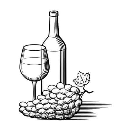 Bunch of grapes with leaf, bottle of wine and wineglass. Retro style black and white vector illustration