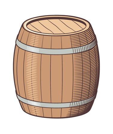 Retro style vector illustration of barrel. Colored version Ilustracja