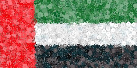 Flag of United Arab Emirates with flowers. Conceptual vector illustration