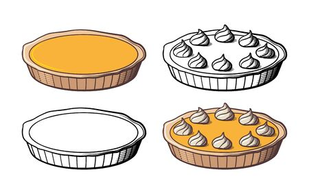Sweet tasty pumpkin pie decorated with cream. Retro-style vector illustration. Colored and outline