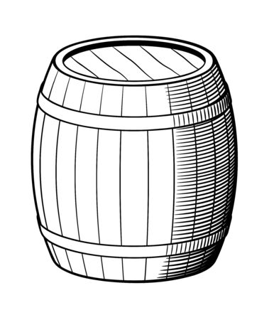Retro style vector illustration of barrel. Black and white
