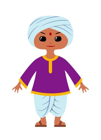 Indian boy wearing traditional clothes: dhoti, kurta and turban. Character design. Vector illustration in chibi style, isolated on white.