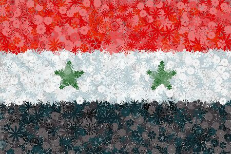 Flag of Syria with flowers. Conceptual vector illustration