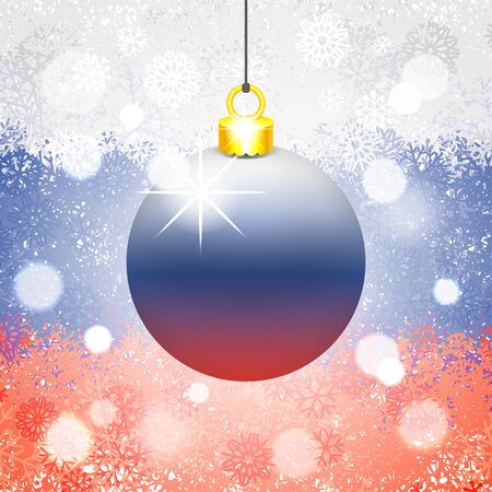 Christmas ball in front of festive background with snowflakes. New Year decoration painted in the colors of Russian flag. Conceptual vector illustration for holiday Ilustracja