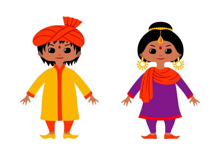 Couple of chibi style characters wearing traditional Indian and Pakistan costumes