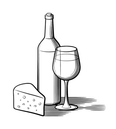 Composition of wine bottle, wineglass and piece of cheese. Retro style black and white vector illustration