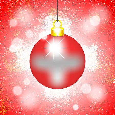 Hanging Christmas ball with image of Swiss flag. Festive winter background with snowflakes, glitter and bokeh. Vector illustration